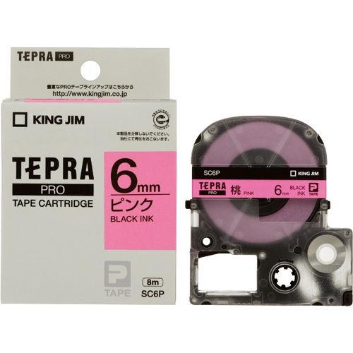 キングジム テープカートリッジ テプラPRO 6mm パステルピンクラベル 黒文字 SC6P