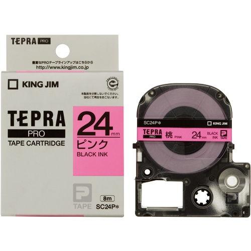 キングジム テープカートリッジ テプラPRO 24mm パステルピンクラベル 黒文字 SC24P