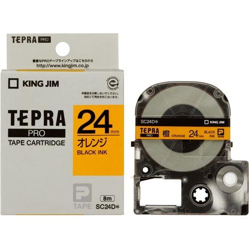 キングジム テープカートリッジ テプラPRO 24mm パステルオレンジラベル 黒文字 SC24D