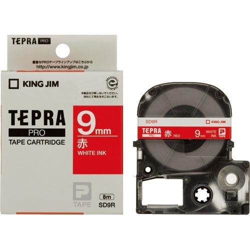 キングジム テープカートリッジ テプラPRO 9mm 赤に白文字 SD9R