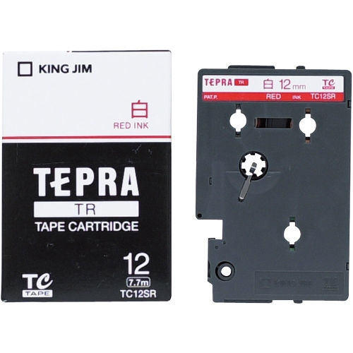 キングジム テープカートリッジ テプラTR 12mm 白に赤文字 TC12SR
