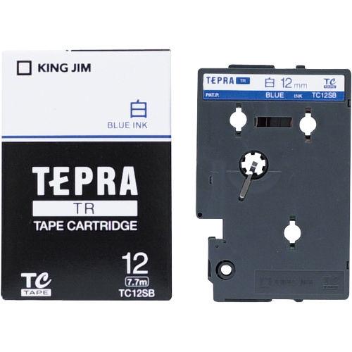 キングジム テープカートリッジ テプラTR 12mm 白に青文字 TC12SB