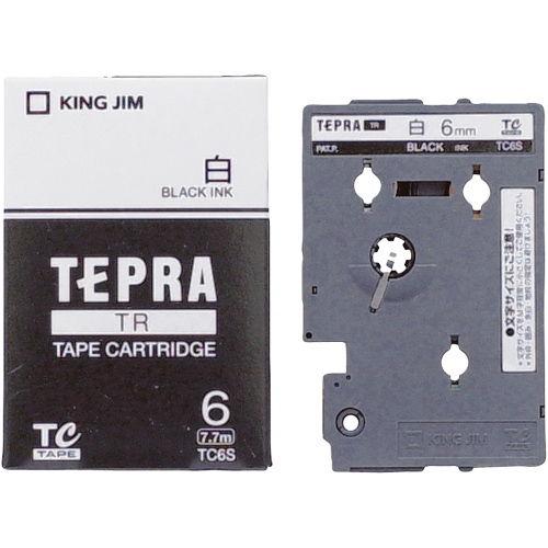 キングジム テープカートリッジ テプラTR 6mm 白に黒文字 TC6S