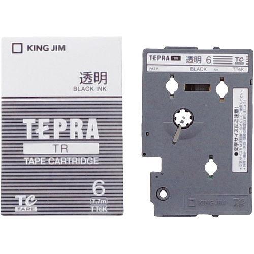 キングジム テープカートリッジ テプラTR 6mm 透明に黒文字 TT6K