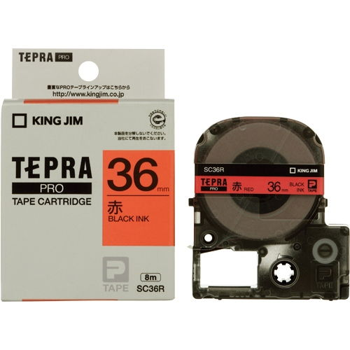 キングジム テープカートリッジ テプラPRO 36mm パステル赤ラベル 黒文字 SC36R
