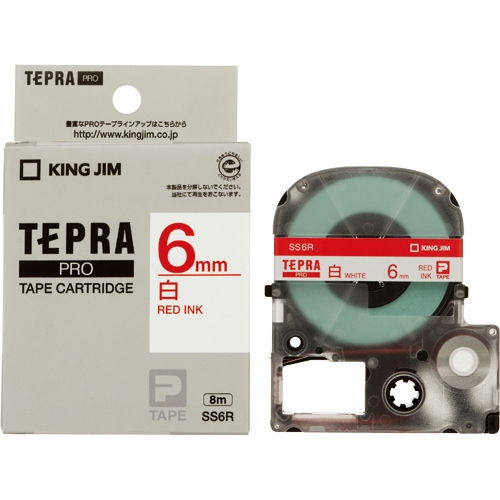 キングジム テープカートリッジ テプラPRO 6mm 白に赤文字 SS6R
