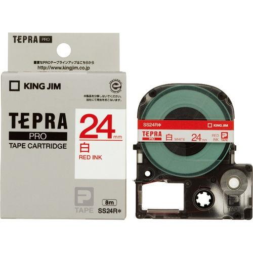 キングジム テープカートリッジ テプラPRO 24mm 白に赤文字 SS24R