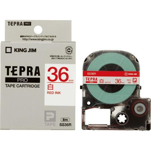 キングジム テープカートリッジ テプラPRO カラーラベル 36mm 白に赤文字 SS36R