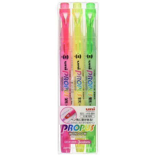 三菱鉛筆 蛍光ペン プロパスウインドウ 3色セット PUS102T3C