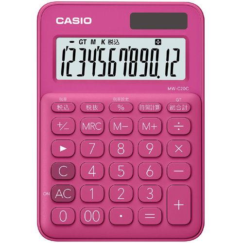 カシオ計算機 カラフル電卓(12桁) ビビッドピンク MW-C20C-RD-N