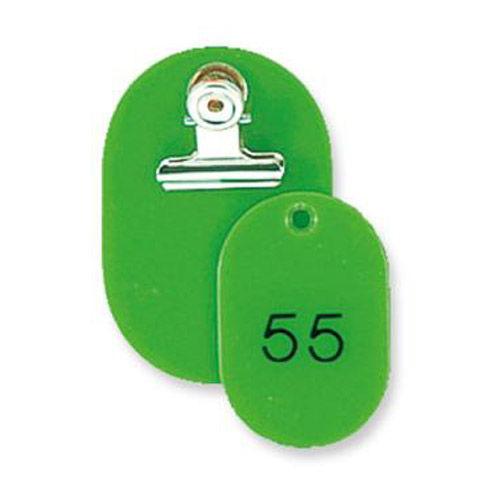共栄プラスチック 親子番号札 51~100番 黄緑 大小2枚組 CT-1-51-YG