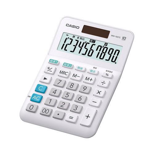 カシオ計算機 W税率対応 電卓 10桁 MW-100TC-WE-N