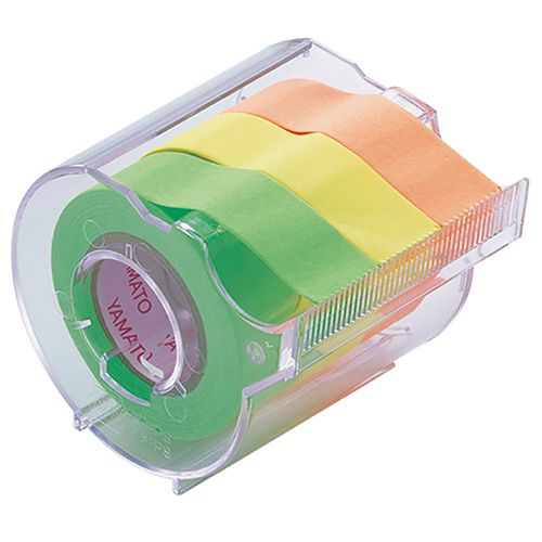 ヤマト メモックロールテープ 蛍光カラー カッター付 15mm ライム/レモン/オレンジ RK-15CH-A