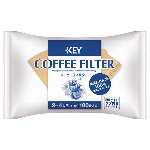 キーコーヒー コーヒーフィルター 2~4人用 無漂白 100P