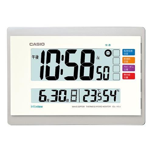カシオ計算機 置・掛時計 デジタル電波時計 (温度・湿度計・生活環境お知らせ付) IDL-140J-7JF