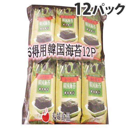 【賞味期限:19.08.20以降】 谷貝食品工業 オリーブ油で焼いた韓国のり(黒豆粉入り) 12パック