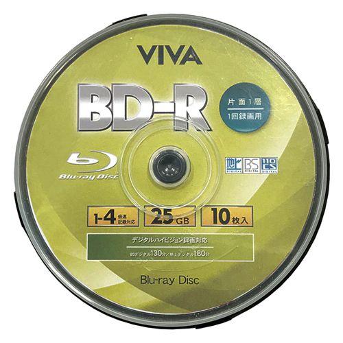 VIVA BD-R ブルーレイディスク 25GB 1-4倍速 録画用 ワイドプリンタブル スピンドルケース ホワイトレーベル 10枚 VR4-10P