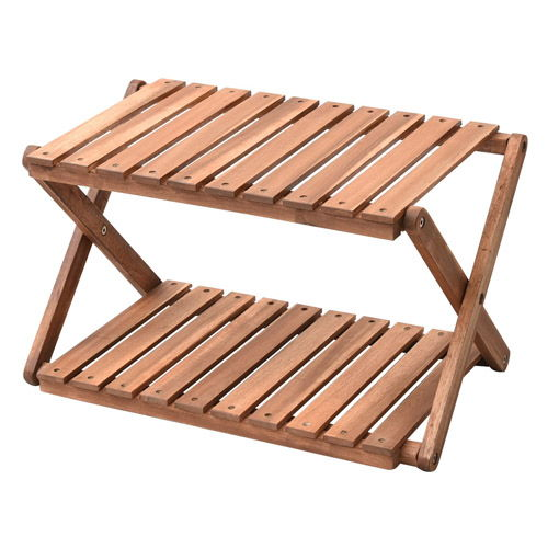 山善 木製ラック キャンパーズコレクション 2段ラック ブラウン 折り畳み式 A2R-01