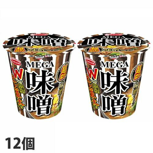 【賞味期限:21.04.14】エースコック カップラーメン MEGA味噌 超濃厚味噌ラーメン 109g×12個