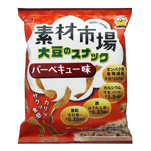 【賞味期限:21.12.23】おやつカンパニー 素材市場 大豆のスナック バーベキュー味 61g