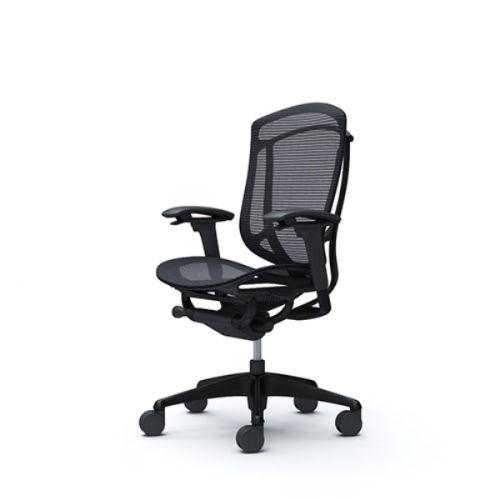 【受注生産品】 オカムラ オフィスチェア コンテッサ セコンダ ハイバック ブラックフレーム ブラックボディ 座メッシュ アジャストアーム ブラック CC81MR FPG1