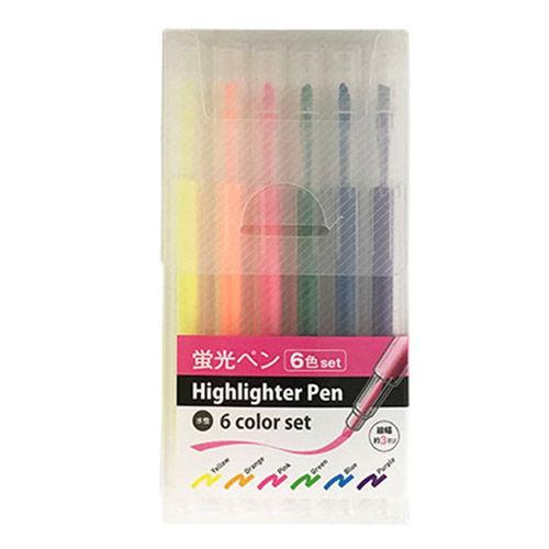 蛍光ペン ケース入 6色セット 2268