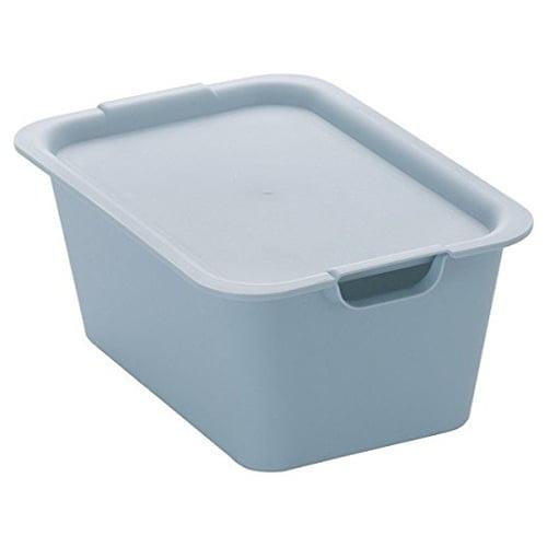 収納ボックス プレーンボックス フタ付 M ライトブルー 1320