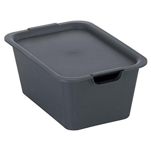 収納ボックス プレーンボックス フタ付 M ストーングレー 1320