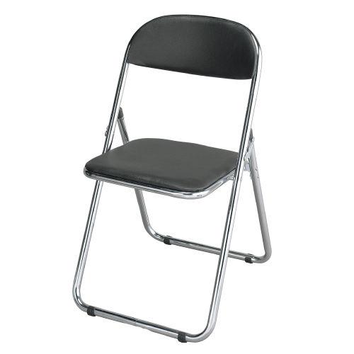 M&M 折りたたみパイプ椅子 GRATES (クロムメッキ仕様) 黒色 4脚セット