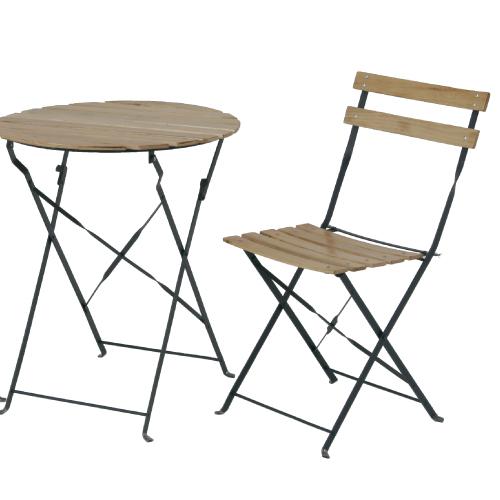 不二貿易 折りたたみ式ウッドテーブル&チェア2脚セット