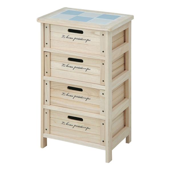 不二貿易 木製4段ボックス W400×D300×H670mm HF05-003(N)