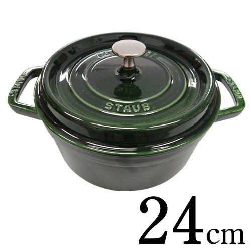 Staub 鋳物ホーロー鍋 ピコ・ココット ラウンド 24cm バジルグリーン