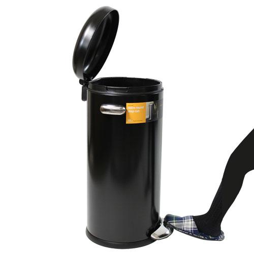 【売切れ御免】Simplehuman ゴミ箱 ラウンド レトロステップカン 30L ブラック CW1258