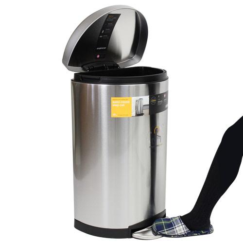 Simplehuman ゴミ箱 セミラウンド ステップカン ステンレス 40L CW1818【他商品と同時購入不可】