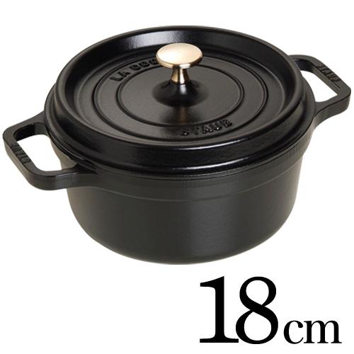 Staub 鋳物ホーロー鍋 ピコ・ココット ラウンド 18cm ブラック