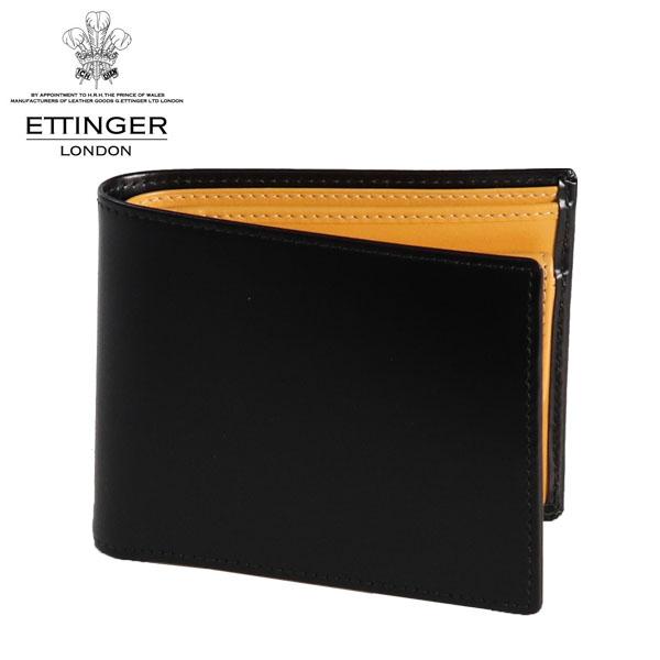 ETTINGER ブライドルレザー 二つ折り財布 小銭入れ付 ブラック/イエロー BH141JR