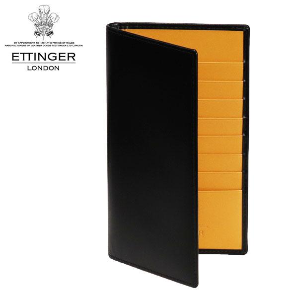 ETTINGER ブライドルレザー 二つ折り長財布 ブラック/イエロー BH806AJR