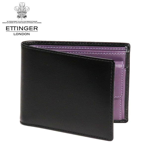 ETTINGER ロイヤルコレクション 二つ折り財布 小銭入れ付 ブラック/パープル ST141JR