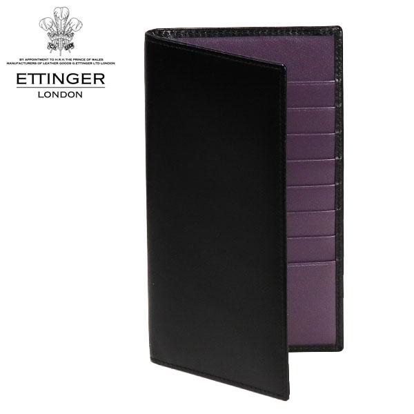 ETTINGER ロイヤルコレクション 二つ折り長財布 ブラック/パープル ST806AJR