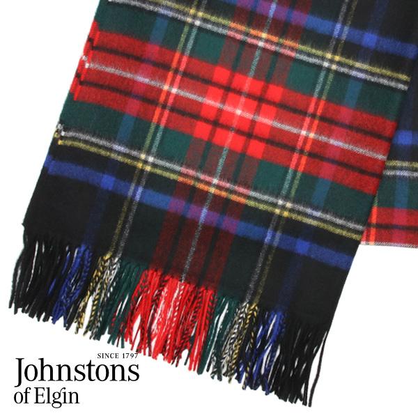 Johnstons ストール カシミア タータンチェック ブラックスチュワート 190×70cm ブラックスチュワート KU0324