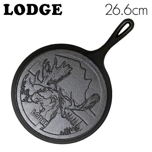 LODGE ロジック ラウンドグリドル 10-1/2インチ ムースロゴ CAST IRON GRIDDLE PAN WITH MOOSE LOGO L9OGWLMO