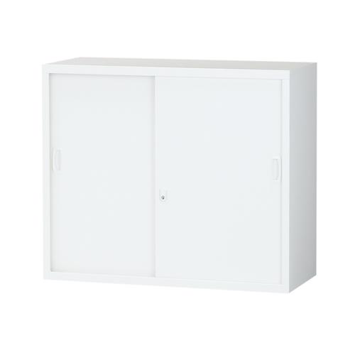 生興 スチール書庫 引戸書庫 A4対応 H750mm ホワイト ALZ-S32