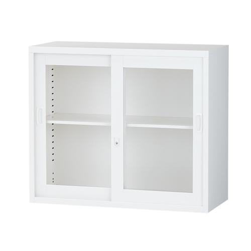 生興 スチール書庫 ガラス引戸書庫 A4対応 H750mm ホワイト ALZ-G32