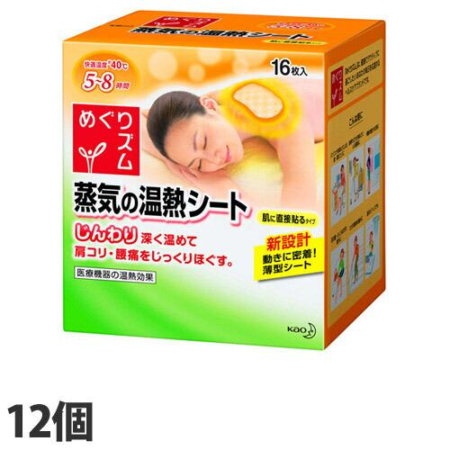 花王 温熱用品 めぐりズム 蒸気の温熱シート 肌に直接貼るタイプ 16枚入 12個