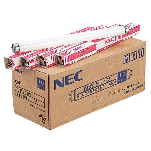 NEC 一般形蛍光灯 グロースタータ形 直管蛍光灯 10W形 白色 25本