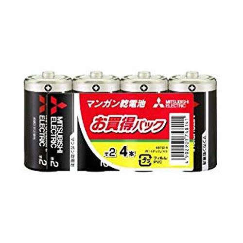 三菱電機 マンガン乾電池 単2形 4本 R14PUD/4S