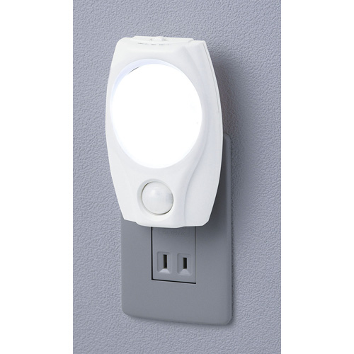 朝日電器 LEDライト LEDナイトライト 明暗人感センサーライト ホワイト 白色LED PM-L200(W)