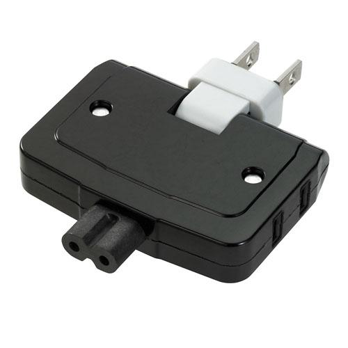 朝日電器 電源タップ ACアダプター用タップ 180度回転プラグ 2個口 ブラック WAC-200B(BK)