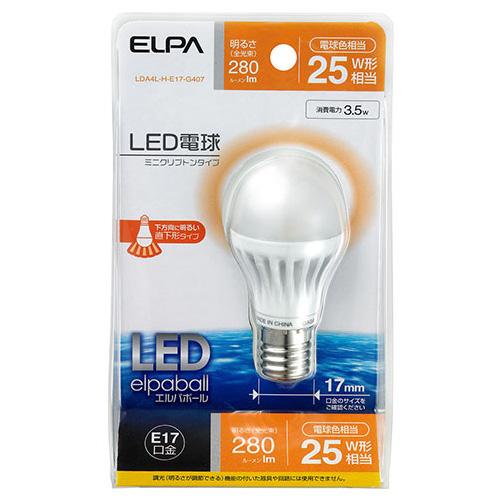 【売切れ御免】朝日電器 LED電球 ミニクリプトン球形 25W形 E17口金 電球色 LDA4L-H-E17-G407