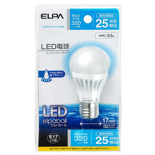 【売切れ御免】朝日電器 LED電球 エルパボールミニ ミニクリプトン球形 全光束320lm 25W形(3.5W) E17口金 昼光色 LDA4D-H-E17-G406